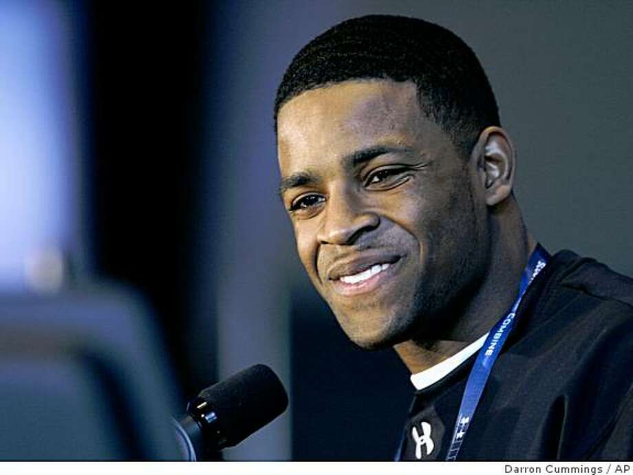 Texas Tech receiver Michael Crabtree listens to a question during a news conference at the NFL Scouting Combine in Indianapolis, Friday, Feb. 20, 2009. (AP Photo/Darron Cummings) Photo: Darron Cummings, AP