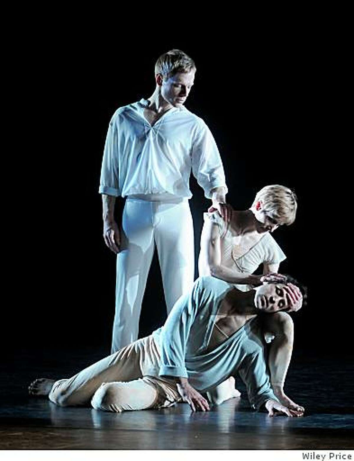 Michael Trusnovec, Julie Tice and Orion Duckstein dance in Beloved Renegade in Program B of Paul Taylor Dance