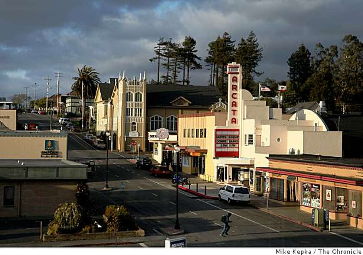A man walks across G Street near the newly reopened Arcata Theater Lounge in downtown Arcata. In November residents of Arcata and nearby neighbors in Eureka passed a law called The Youth Protection Act which prevents military recruiters from talking to minors without them coming to the recruiter first.
