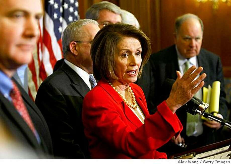 WASHINGTON - APRIL 02:  Speaker of the House Rep. Nancy Pelosi (D-CA) (C) speaks as Rep. Chris Van Hollen (D-MD) (L) and Chairman of the U.S. House Budget Committee Rep. John Spratt (D-SC) (R) listen during a news conference on Capitol Hill April 2, 2009 in Washington, DC. The Democrats held a news conference to discuss the House Budget Resolution before the House voted on it.  (Photo by Alex Wong/Getty Images) Photo: Alex Wong, Getty Images