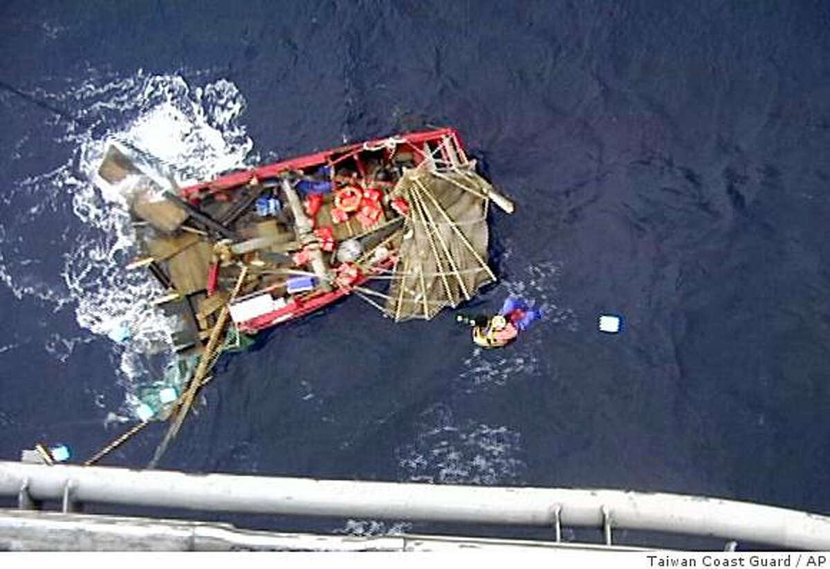 In this photo released from the Taiwan Coast Guard, the debris the destroyed sailboat Princess TaiPing, is shown Saturday, April 25, 2009, off the coast of Taiwan. Eleven crew members of a 54-foot wooden Chinese junk were rescued after a freighter rammed into the replica vessel, splitting it in half off the coast of Taiwan, relatives of crew members from Hawaii said Monday, April 27, 2009.