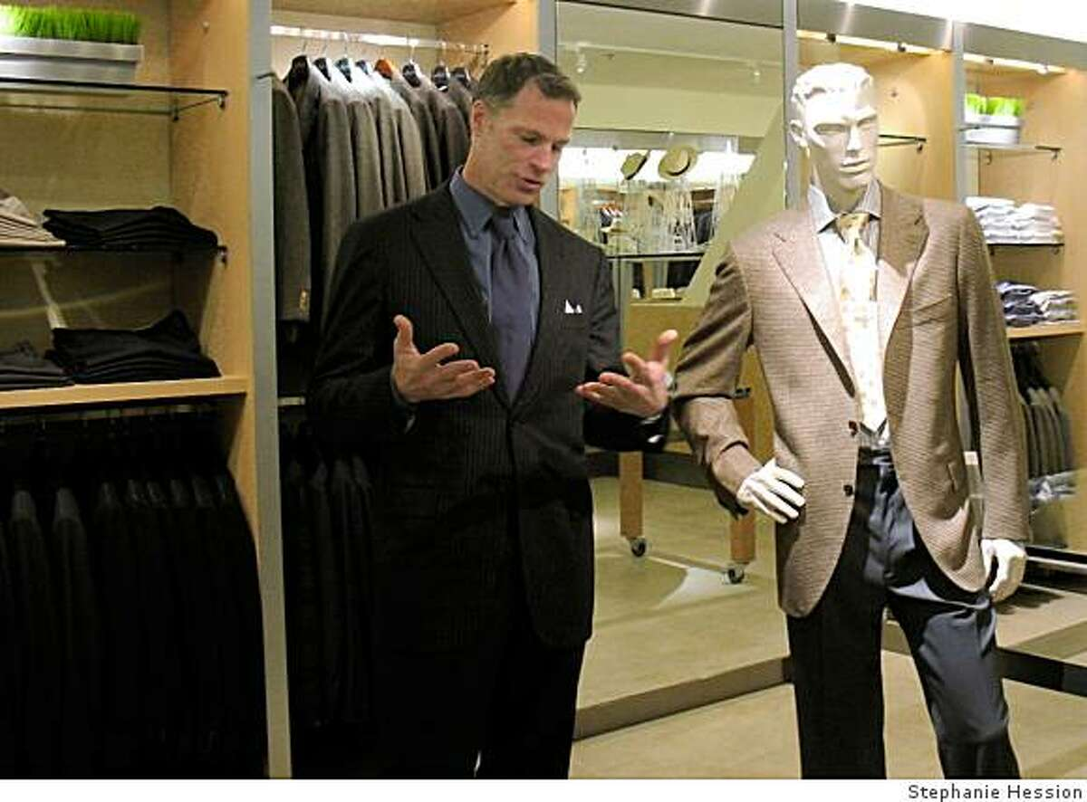 Wilkes Bashford clothing sales person Randy Candler discusses suit styles.