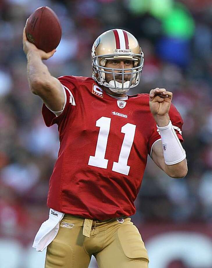 SAN FRANCISCO - SEPTEMBER 20:  Alex Smith #11 of the San Francisco 49ers passes against the New Orleans Saints during an NFL game at Candlestick Park on September 20, 2010 in San Francisco, California. Photo: Jed Jacobsohn, Getty Images