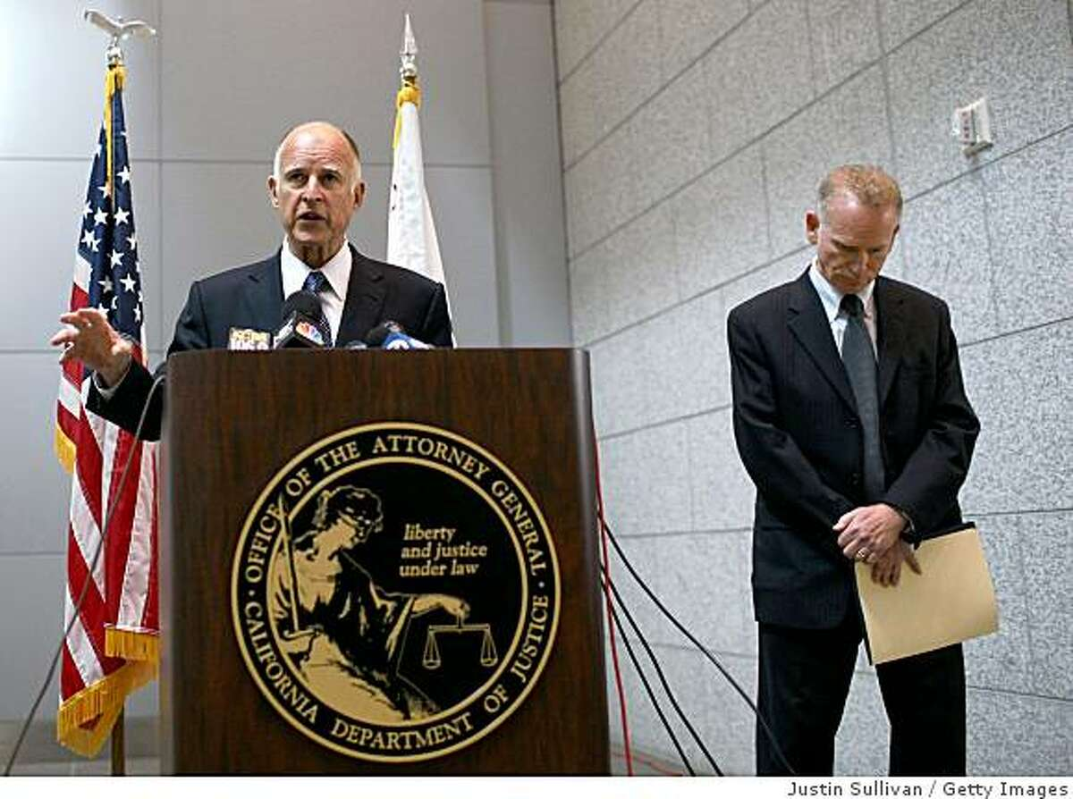 California attorney general Jerry Brown (left) speaks during a press conference where he announced a lawsuit he filed against Wells Fargo affiliates April 23, 2009 in San Francisco, California. Brown filed a $1.5 billion lawsuit against three affiliates of San Francisco based Wells Fargo Bank for defrauding California investors who purchased auction rate securities thinking the investement would be as safe and liquid as cash.