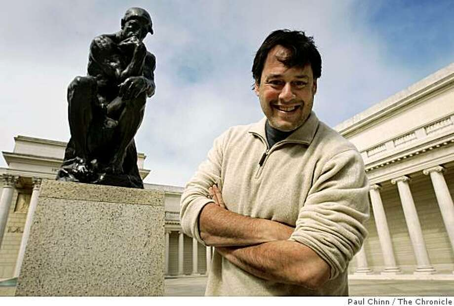 """Birdman Records founder David Katznelson visits Auguste Rodin's """"The Thinker"""" statue at the Legion of Honor in San Francisco, Calif., on Wednesday, April 22, 2009. Photo: Paul Chinn, The Chronicle"""