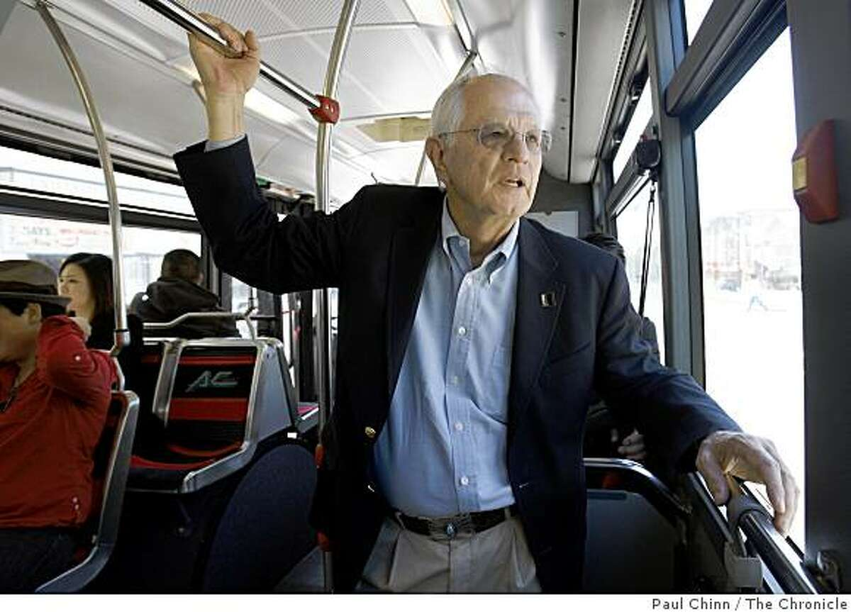 Berkeley Mayor Tom Bates rides an AC Transit bus to his auto mechanic's shop, who's selling Bates' car for him, in Berkeley, Calif., on Thursday, April 16, 2009.