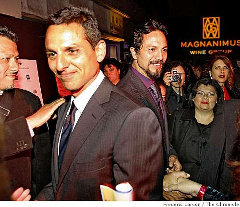 "Both Benjamin Bratt (right) his brother Peter Bratt great a crowd of fans during a film festival party for their movie ""La Mission,"" held at Bruno's Restaurant on Mission Street in San Francisco on April 23, 2009. Photo: Frederic Larson, The Chronicle"