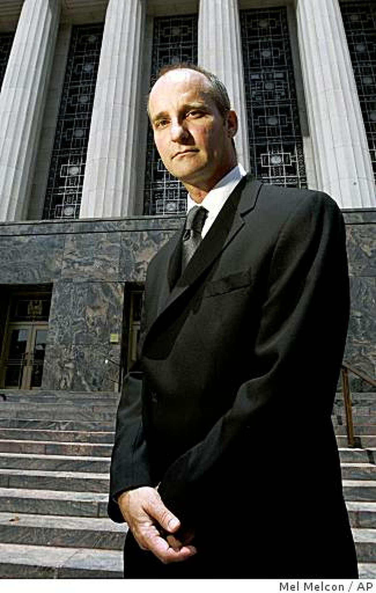 This July 25, 2008 photo shows Charlie Lynch standing outside the U.S. Courthouse in Los Angeles. Lynch is the owner of a medical marijuana dispensary in Morro Bay, Calif. A hearing is scheduled Thursday April 23, 2009, in the case of Lynch, convicted of running a medical marijuana dispensary in Morrow Bay. (AP Photo/Los Angeles Times, Mel Melcon) ** MANDATORY CREDIT, NO SALES, NO FOREIGN, NO MAGS, NO TELEVISION ** LOS ANGELES DAILY NEWS OUT, ORANGE COUNTY REGISTER OUT, VENTURA COUNTY STAR OUT, INLAND VALLEY DAILY BULLETIN OUT, SAN BERNARDINO SUN OUT, LA OPINION OUT