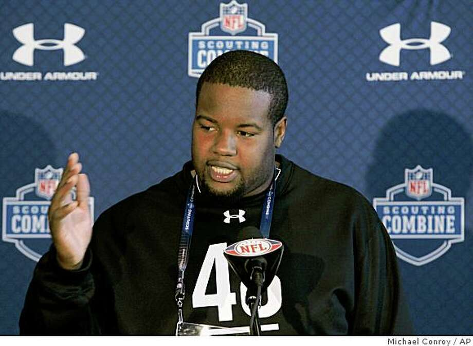 Alabama offensive lineman Andre Smith  talks about his football draft prospects during a press conference at the NFL Scouting Combine in Indianapolis, Thursday, Feb. 19, 2009.  (AP Photo/Michael Conroy) Photo: Michael Conroy, AP