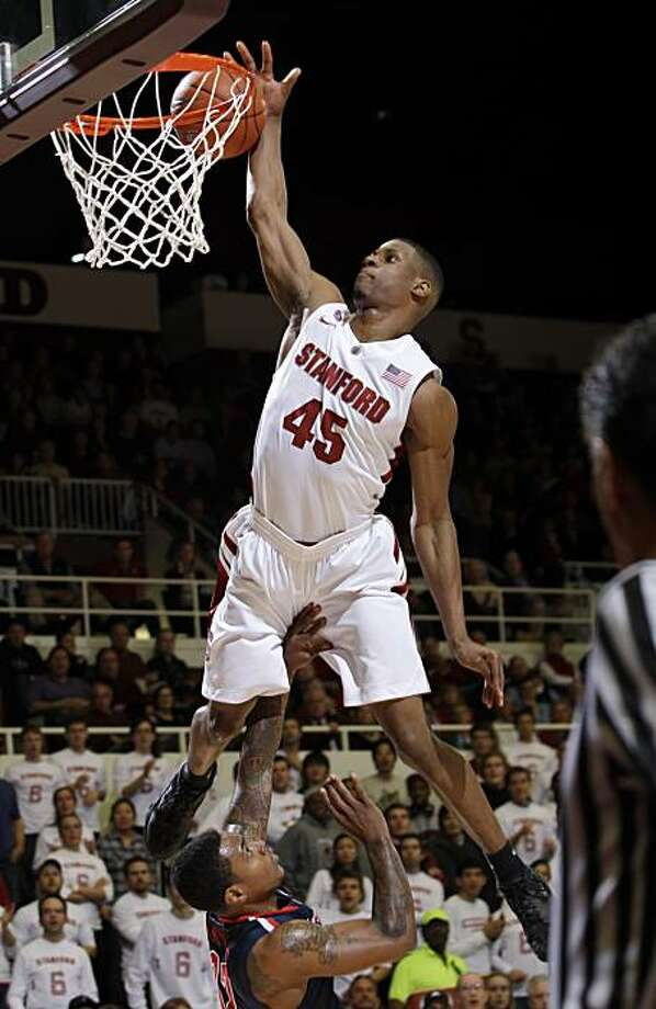 Stanford guard Jeremy Green (45) misses a dunk over Arizona guard Lamont Jones (12) in the second half of an NCAA college basketball game in Stanford, Calif., Thursday, Feb. 3, 2011. Arizona defeated Stanford 78-69. Green was Stanford's high scorer with 21 points. Photo: Paul Sakuma, AP
