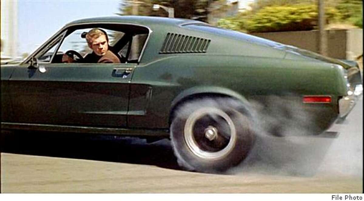 Steve McQueen on the set of the movie Bullitt, in which he drove in the finest chase scene.
