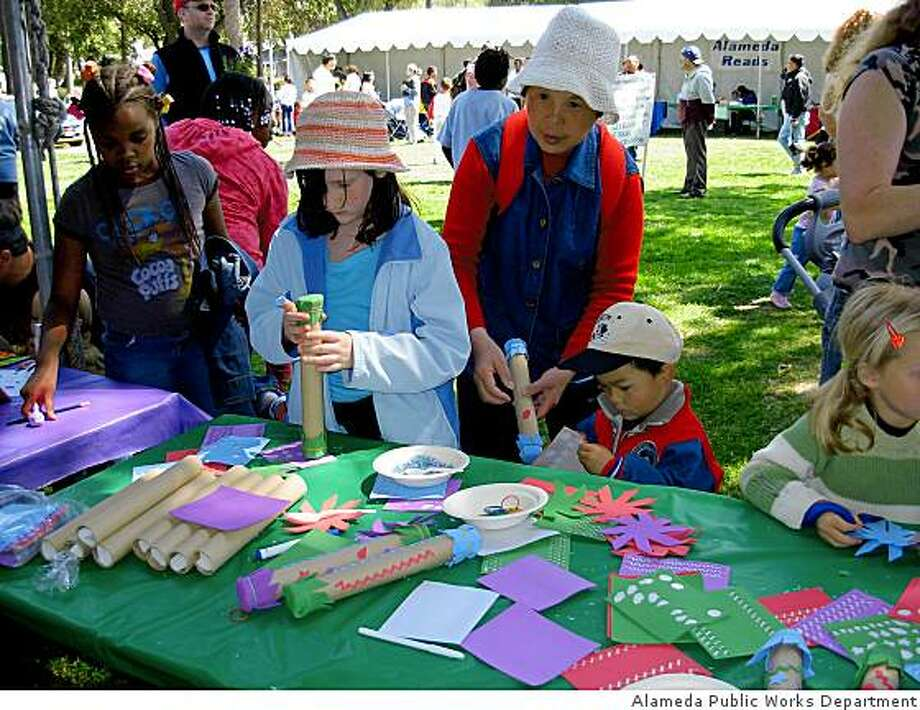 A craft table at last year's Earth Day celebration in Alameda. Photo: Alameda Public Works Department