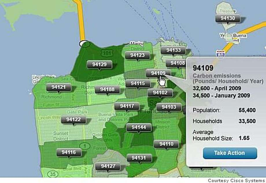 The city of San Francisco and Cisco Systems plan to unveil a new program that will help city residents determine how green they truly are. Here, city zipcodes are shaded darker if they are deemed to be more eco-friendly Photo: Courtesy Cisco Systems