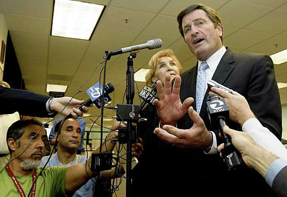 California Lt. Gov. John Garamendi, until now a candidate for Governor, announced at a Concord employment center Wednesday April 22, 2009 that he plans to run for the East Bay congressional seat now held by Ellen Tauscher. With his wife Patti of 43 years at his side Garamendi toured the center speaking with several groups of unemployed, gathering information that he will take back to his State Economic Development Committee that he chairs. Photo: Lance Iversen, The Chronicle