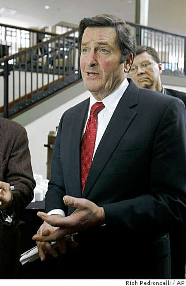 Lt. Gov. John Garamendi talks to reporters after appearing at a forum on ways to reform state government in Sacramento, Calif., Tuesday, Feb. 24, 2009. Delegates at the California Constitutional Convention Summit debated whether the  the state Constitution should be completely rewritten. (AP Photo/Rich Pedroncelli) Photo: Rich Pedroncelli, AP