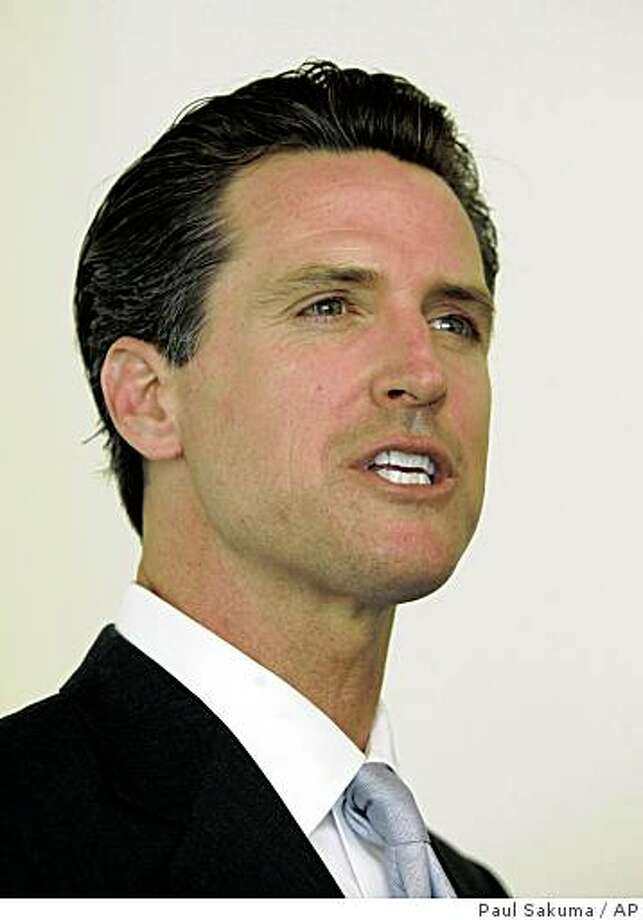 San Francisco Mayor Gavin Newsom formally announces his candidacy for California governor at Facebook headquarters in Palo Alto, Calif., Tuesday, April 21, 2009.  Entering a race that could see him competing against men 15 and 30 years his senior, the 41-year-old Democrat pointedly used YouTube and the social networking sites Twitter and Facebook to disclose that he would seek his party's nomination to succeed Gov. Arnold Schwarzenegger. (AP Photo/Paul Sakuma) Photo: Paul Sakuma, AP