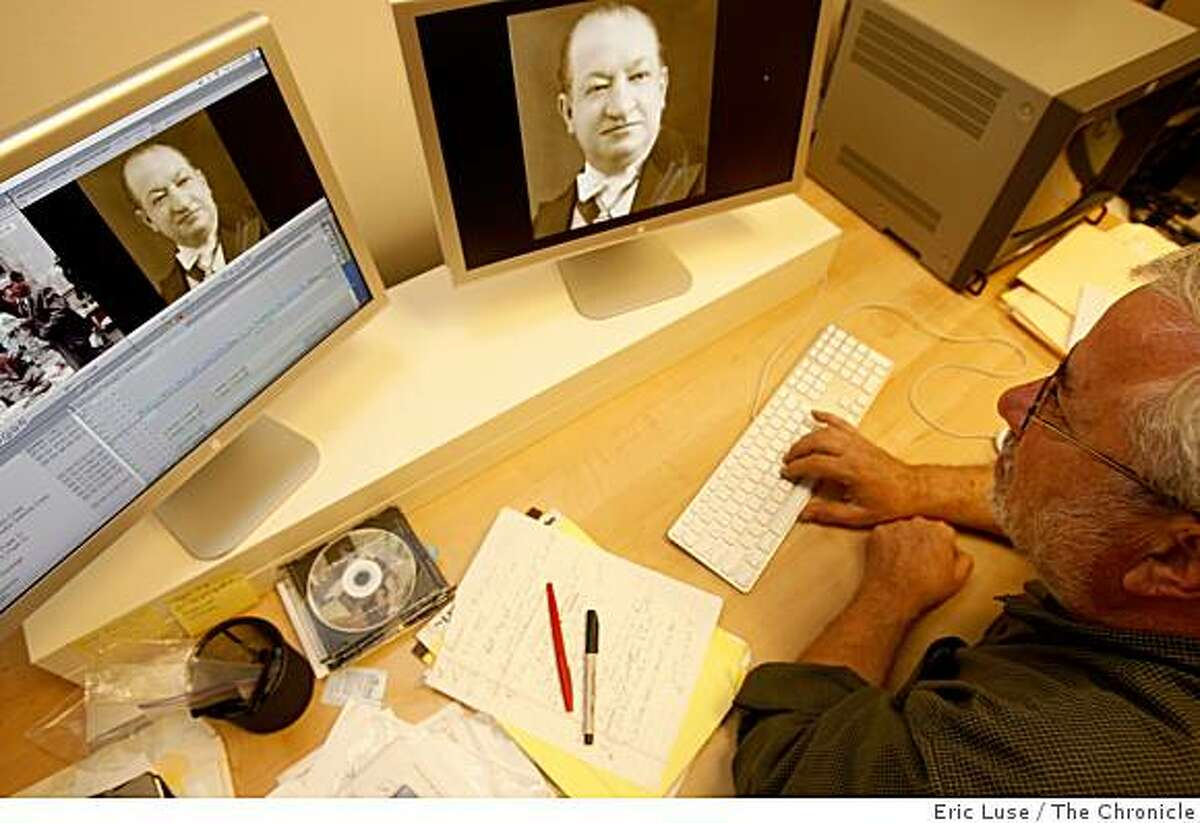 Filmmaker Rick Tejada-Flores editing a film about his family from Bolivia, with an image of his Grandfather on screen, called