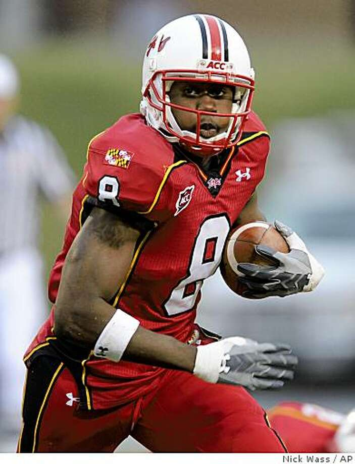 ** FOR USE AS DESIRED WITH NFL DRAFT STORIES ** FILE - In this Oct. 25, 2008 file photo, Maryland wide receiver Darrius Heyward-Bey (8) runs with the ball against North Carolina State during an NCAA college football game in College Park, Md. Heyward-Bey is a top prospect in the 2009 NFL Draft. AP Photo/Nick Wass, File) Photo: Nick Wass, AP