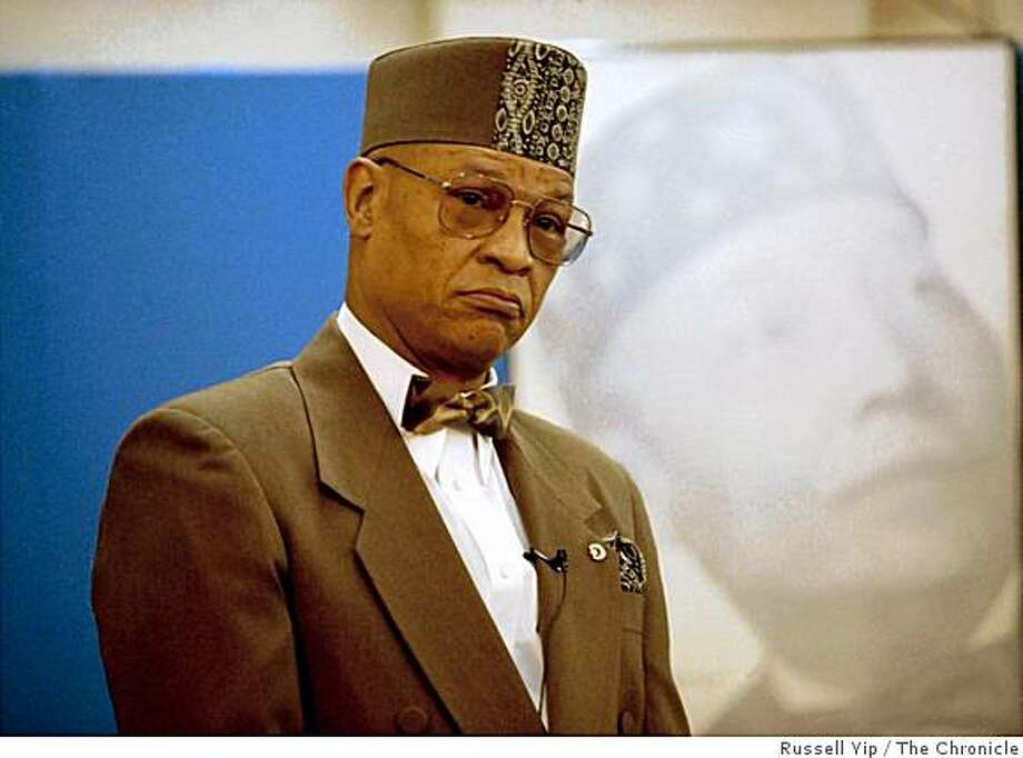 The elder Yusuf Bey, leader of the Your Black Muslim Bakery speaking a rally during his campaign for the mayor of Oakland in 1994. Photo: Russell Yip, The Chronicle