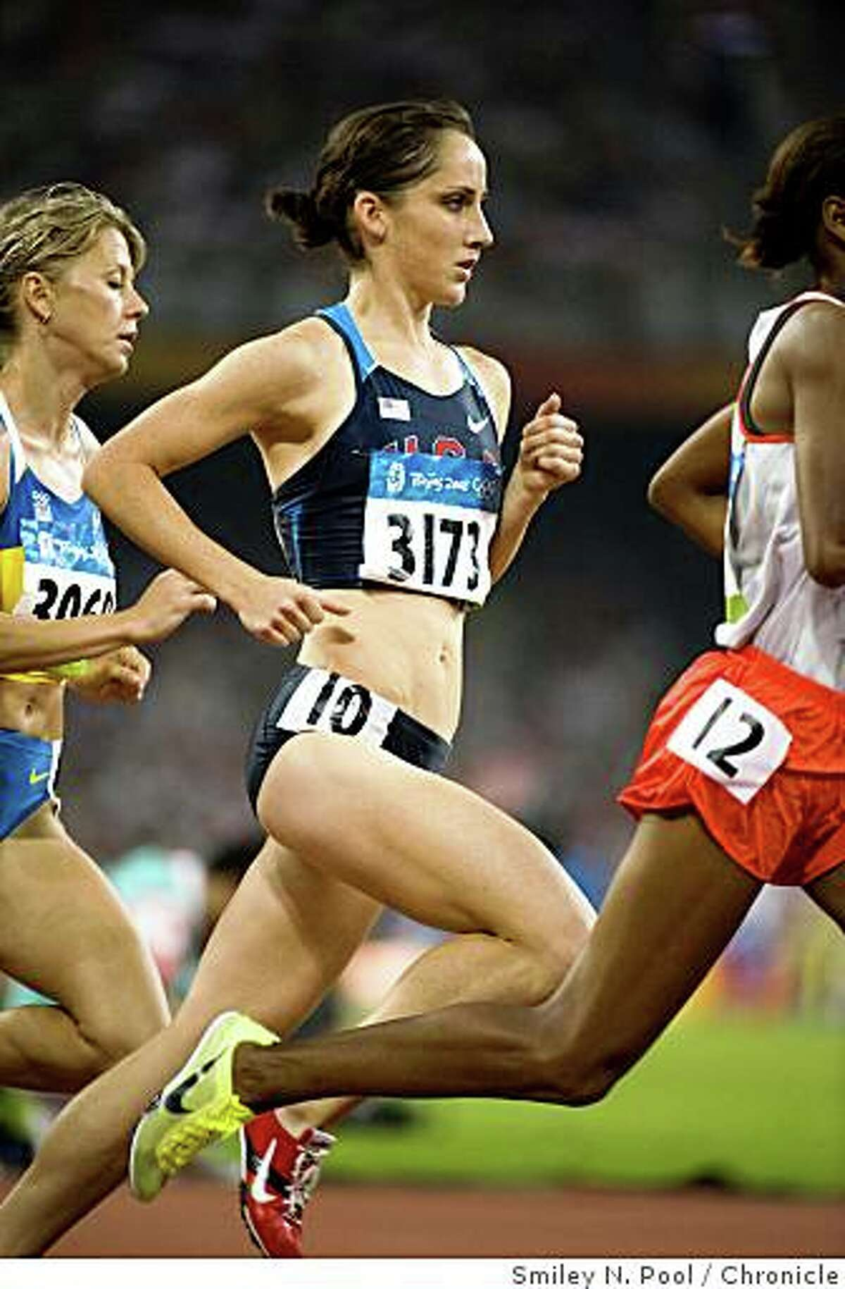 Shannon Rowbury of the United States (3173) competes in the women's 1500 meter run in athletics (track and field) at the 2008 Summer Olympic Games, Saturday, Aug. 23, 2008, in Beijing. ( Smiley N. Pool / Chronicle )