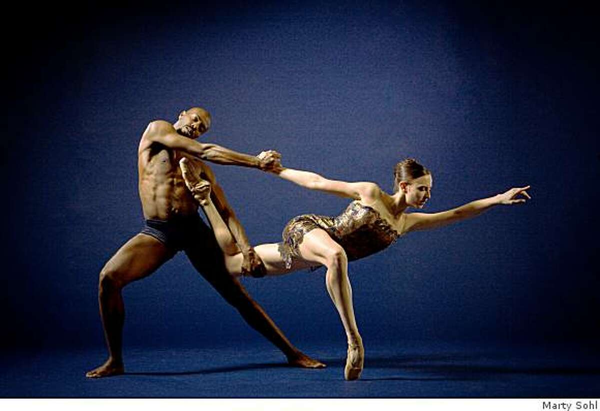 Keelan Whitmore and Meredith Webster, dance in publicity shot in advance of AlLonzo King/Lines Ballet performance of April 17