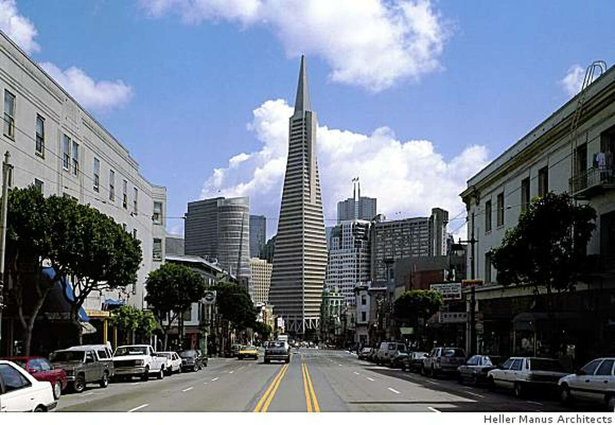 This undated rendering shows the proposed project at 555 Washington Street as viewed from Columbus Avenue in San Francisco. The modern, cylindrical building would only be about half as tall as the Transamerica Building, but some argue it would be a distracting addition to an area dominated by the iconic tower for decades.