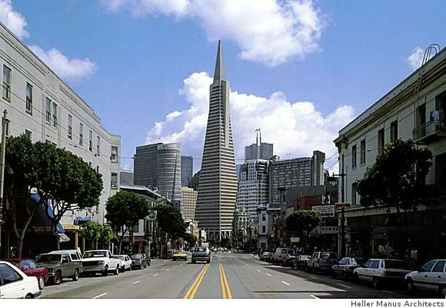 This undated rendering shows the proposed project at 555 Washington Street as viewed from Columbus Avenue in San Francisco. The modern, cylindrical building would only be about half as tall as the Transamerica Building, but some argue it would be a distracting addition to an area dominated by the iconic tower for decades. Photo: Heller Manus Architects