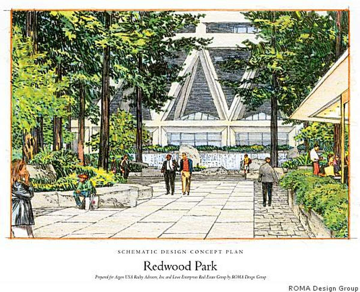 This handout rendering shows Redwood Park, a private park owned Aegon, the company that bought the Transamerica company. It's open during the week at Aegon's discretion. As part of the development plan for the new residential tower, the park would be turned over to the San Francisco Recreation and Park Department. It would be a public park, but Aegon would take responsibility for its upkeep.