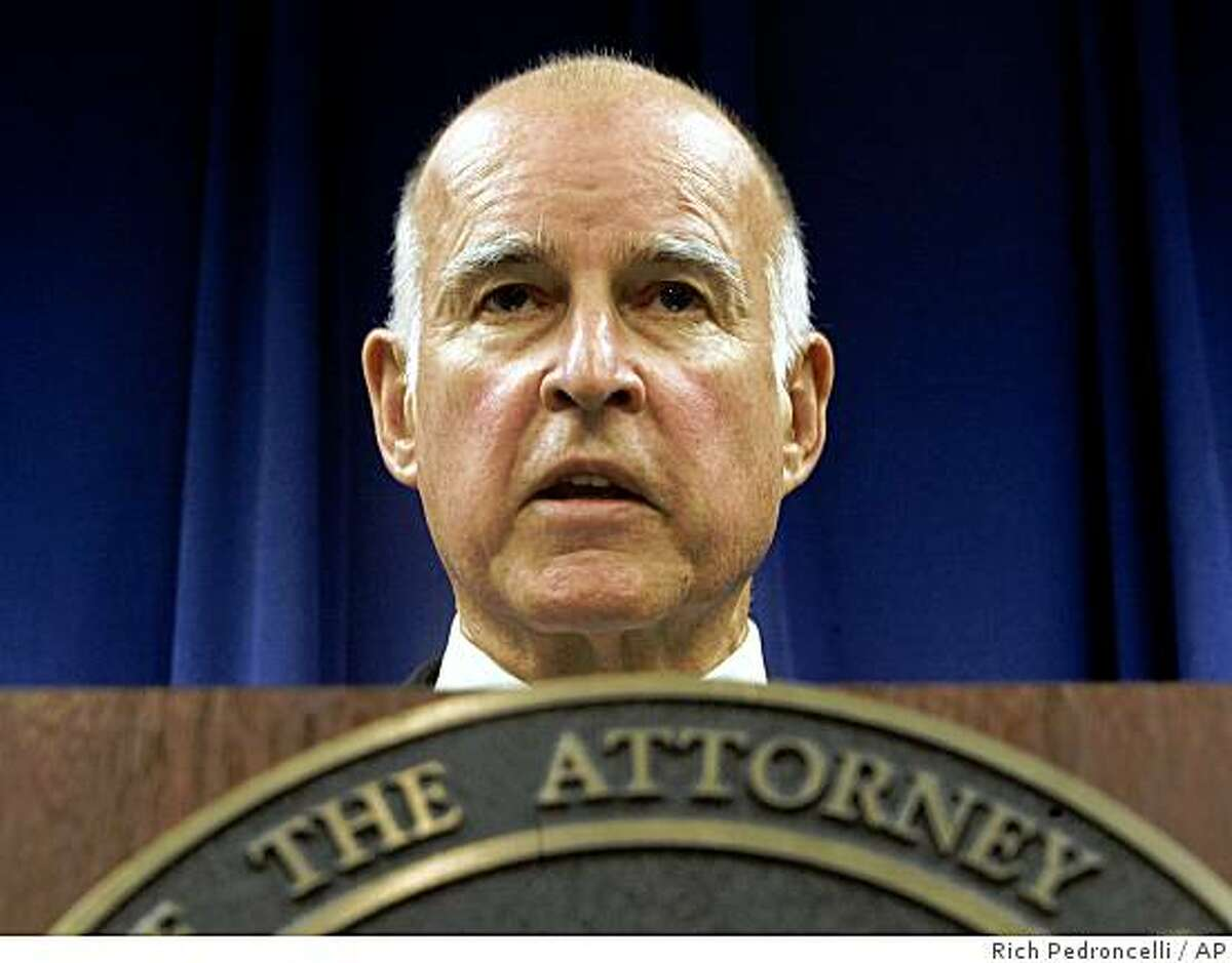 Attorney General Jerry Brown discusses how his office will handle the passage of Proposition 8 during a news conference in Sacramento, Calif., Wednesday, Nov. 5, 2008. Approved by voters in Tuesday's election, Prop. 8 will change California's Constitution to ban same-sex marriage.