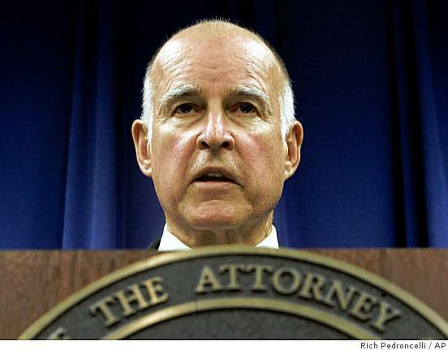 Attorney General Jerry Brown discusses how his office will handle the passage of Proposition 8 during a news conference in Sacramento, Calif., Wednesday, Nov. 5, 2008.  Approved by voters in Tuesday's election, Prop. 8 will change California's Constitution to ban same-sex marriage. Photo: Rich Pedroncelli, AP