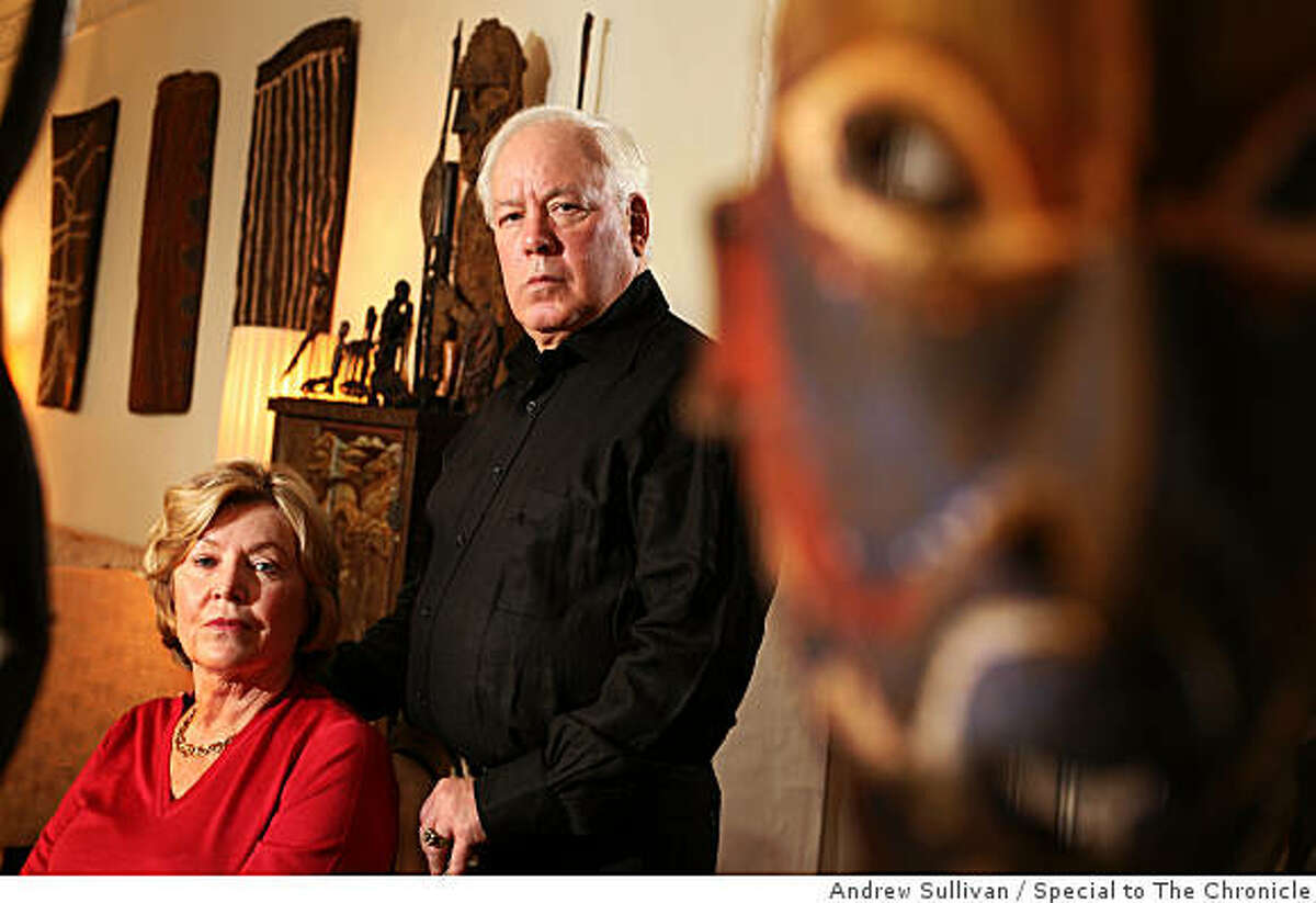 John and Marcia Friede pose in their living room with part of their approximately 4,000 piece collection of art from Papua New Guinea in Rye, New York on Nov. 12, 2008. The Friedes are embroiled in a lawsuit with two of Mr. Friede's brothers over their mother's estate. The suit may endanger the collection, most of which has been promised to the Fine Arts Museums of San Francisco.