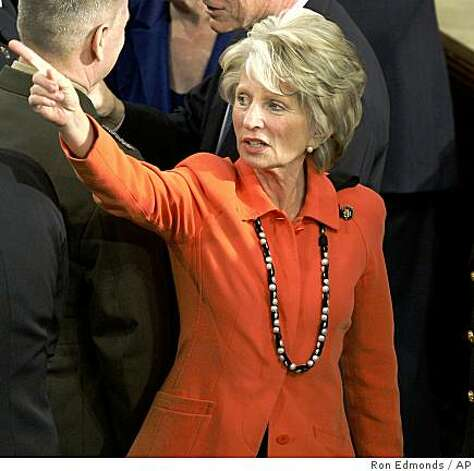 FILE - In this Feb. 24, 2009 file photo, Rep. Jane Harman, D-Calif., talks with Joint Chiefs Chairman Adm. Michael Mullen prior to President Barack Obama's address to a joint session of Congress in the House Chamber of the Capitol in Washington. Harman, a former member of the House Intelligence Committee is asking the U.S. Justice Department to release transcripts of her recorded conversations involving two pro-Israel lobbyists accused of espionage. (AP Photo/Ron Edmonds, FILE) Photo: Ron Edmonds, AP
