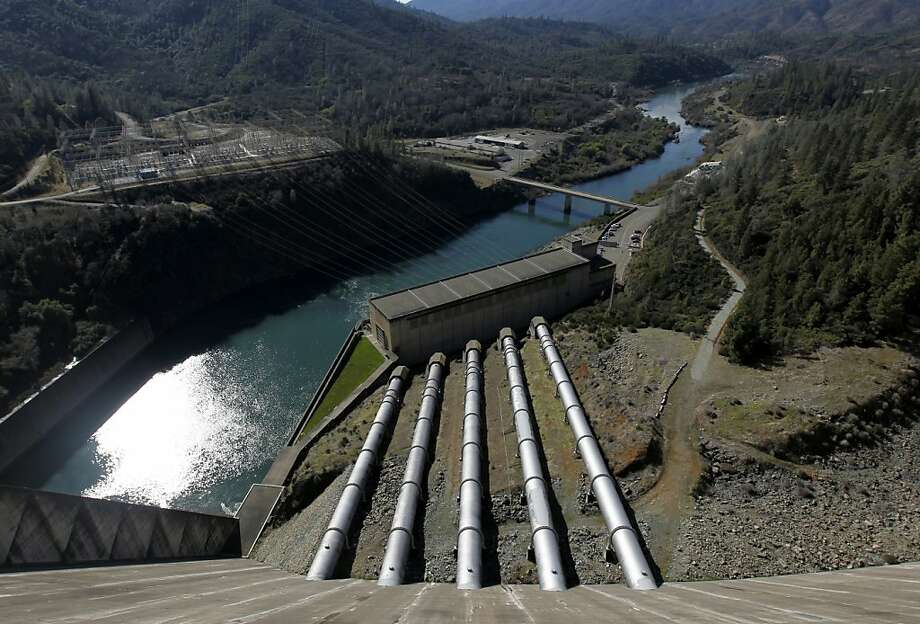 Lake Shasta water flows through five penstocks to the hydroelectric power plant at the base of Shasta Dam. A proposal to raise the dam's height drew approval in a federal report and concern in some circles. Photo: Paul Chinn, The Chronicle