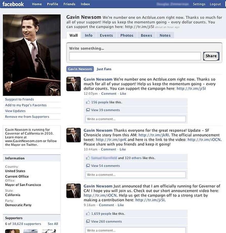 Gavin Newsom's facebook page.