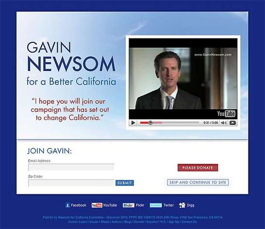 Gavin Newsom's YouTube video announcement.