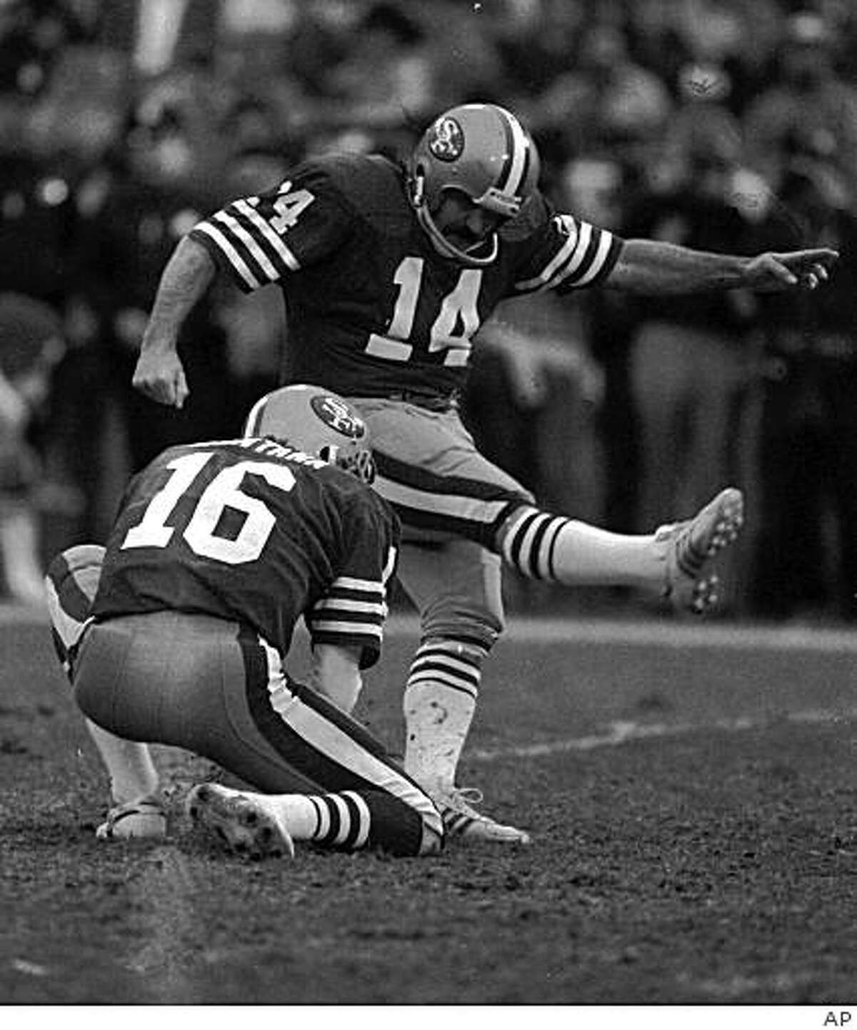 Ray Wersching was the place-kicker for the 49ers for 10 seasons (1977-87). In the last 10 years, the team has gone through nine others. Owen Pochman, the lastest, makes his debut today vs. the Browns.