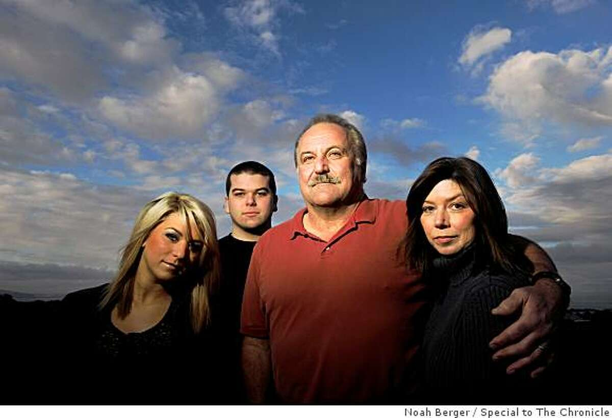 Former 49er Ray Wersching stands with his family outside their San Carlos, Calif., home on Wednesday, Feb. 11, 2009. From right to left are wife Chrissy, Ray, son Rhiney, 17, and daughter Sydney, 21.