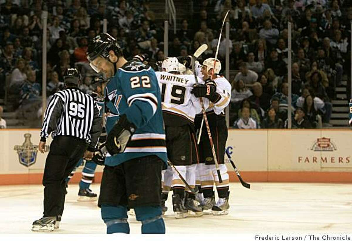 Anaheim Duck Scott Niedermayer scores the first goal of the night in the third period off the San Jose Sharks in the first round of the Stanley Cup Playoffs on April 16, 2009.