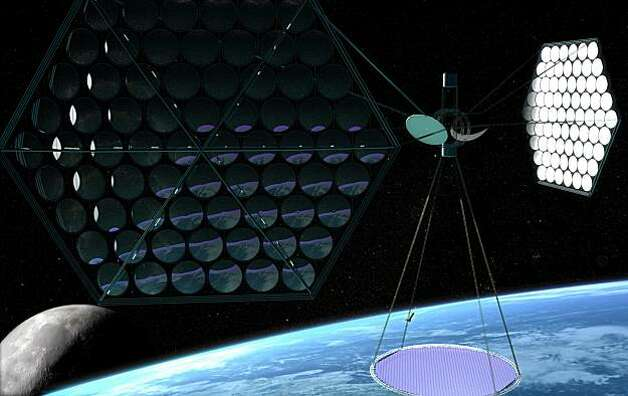 Space-based solar power plants have been discussed for decades and could take many shapes. In this artist's rendering, mirrors focus sunlight on solar panels. Solaren has not yet revealed the design of its orbiting power plant, which will sell power to PG&E. Photo: ©Mafic Studios, Inc.