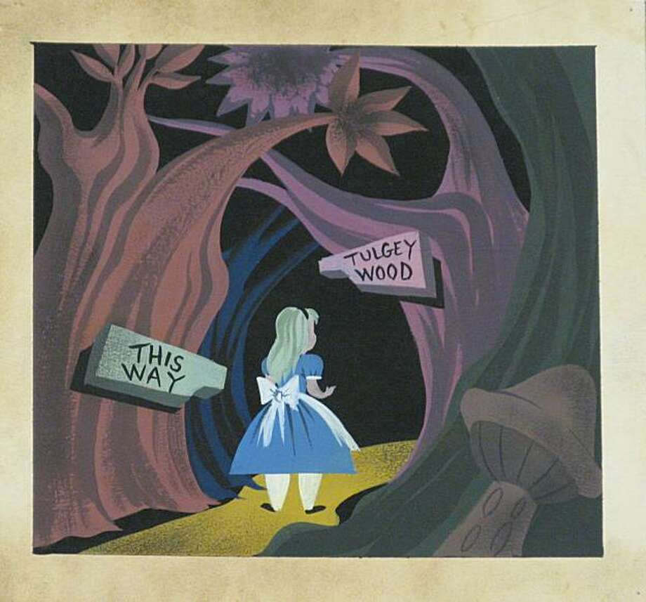 This 1950 gouache on paper painting of Alice in Wonderland shows Alice at the entrance to Tulgey Wood. The Walt Disney Foundation is opening a museum dedicated to the life of Walt Disney in San Francisco's Presidio. Photo: © Disney Enterprises, Inc., Walt Disney Family Foundation