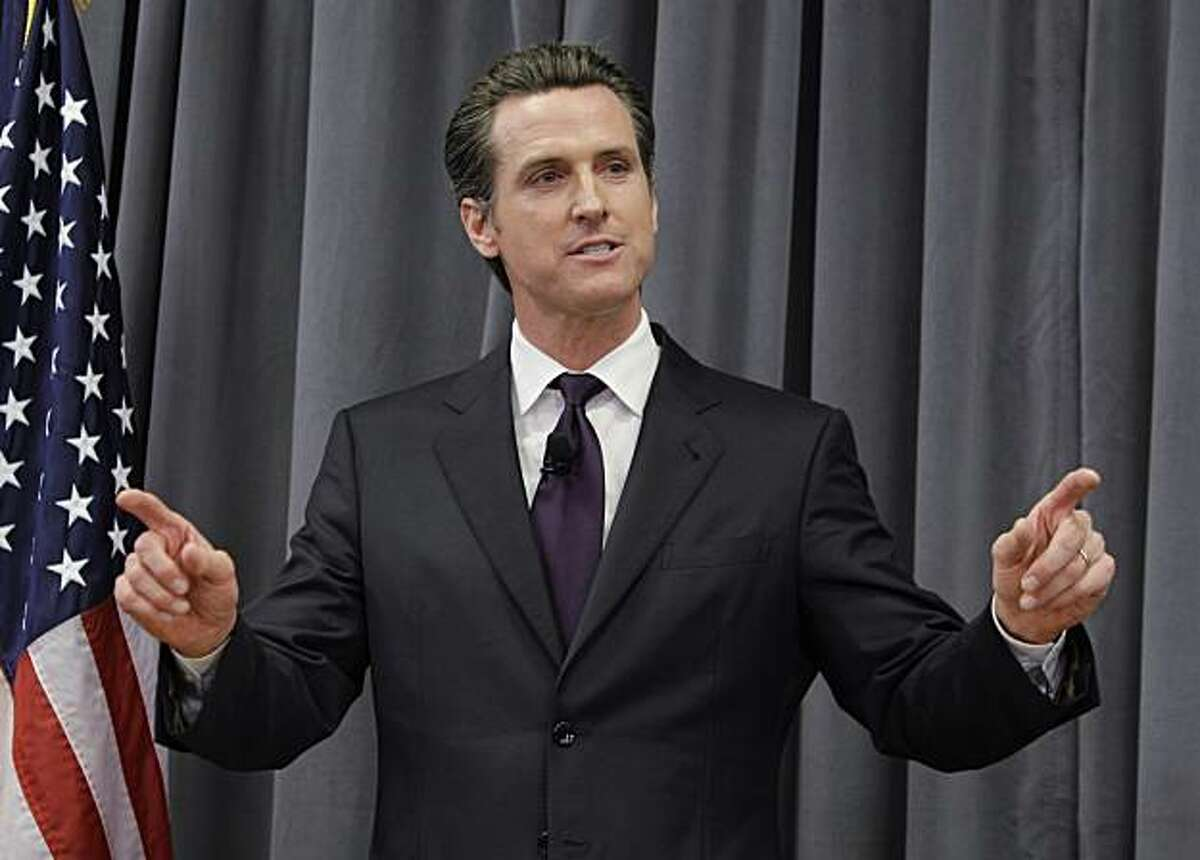 San Francisco Mayor Gavin Newsom gestures during a debate for Calif. Lt. Governor against Lt. Governor Abel Maldonado in Sunnyvale, Calif., Thursday, Oct. 7, 2010.