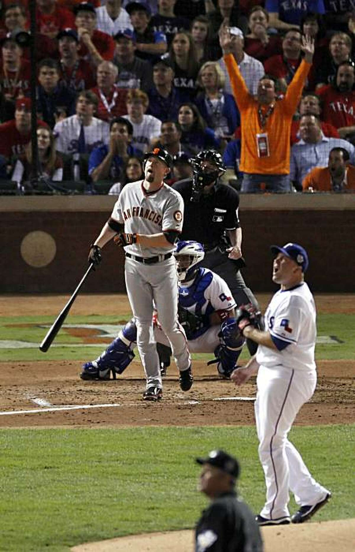 San Francisco Giants first baseman Aubrey Huff (17) watches his two run homer in the third inning during game 4 of the 2010 World Series between the San Francisco Giants and the Texas Rangers on Sunday, Oct. 31, 2010 in Arlington, Tx.San Francisco GiantsSan Francisco Giants first baseman Aubrey Huff (17) watches his two run homer in the third inning during game 4 of the 2010 World Series between the San Francisco Giants and the Texas Rangers on Sunday, Oct. 31, 2010 in Arlington, Tx. Ran on: 11-01-2010 Aubrey Huff and Rangers pitcher Tommy Hunter watch Huff's drive soar high and deep beyond the right-field wall for a two-run homer in the third inning. Ran on: 11-01-2010 Aubrey Huff and Rangers pitcher Tommy Hunter watch Huff's drive soar high and deep beyond the right-field wall for a two-run homer in the third inning. MANDATORY CREDIT FOR PHOTOG AND SAN FRANCISCO CHRONICLE/NO SALES-MAGS OUT-INTERNET OUT-TV OUT
