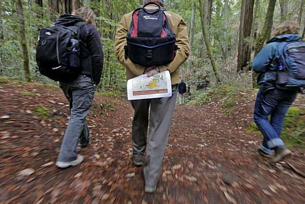 Supporters of the Montgomery Woods project walk through the forest to hear the different scientist explain how  global warming affects the redwoods in the forest,Thursday Nov. 18, 2010, in the Montgomery Woods State Natural Reserve in Ukiah, Calif. Photo: Lacy Atkins, The Chronicle