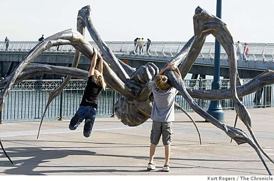 Louise Bourgeois's Crouching Spider.public art and the constant debate over it. The latest is the 10-foot high bronze spider at Embarcadero and Mission NEVIUS18_0167_KR.jpg Kurt Rogers / The Chronicle Photo taken on 11/17/07, in San Francisco, CA, USA Photo: Kurt Rogers, The Chronicle