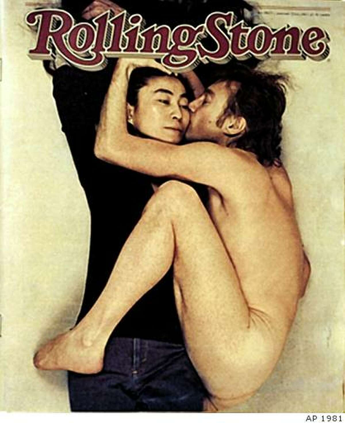 1981 Rolling Stone cover featuring John Lennon and Yoko Ono.**RETRANSMISSION FOR IMPROVED QUALITY AND INCREASED FILE SIZE**This photo supplied by the Magazine Publishers Association and American Society of Magazine Editors shows the Rolling Stone magazine cover from Jan. 22, 1981, depicting John Lennon and Yoko Ono, which was voted the number one cover from the last 40 years, as decided by judges in a contest by the American Society of Magazine Editors, the group announced Monday, Oct. 17, 2005. The photo was taken by photographer Annie Liebovitz in December 1980 on the last day of Lennon's life. (AP Photo/Magazine Publishers Assn and American Society of Magazine Editors)
