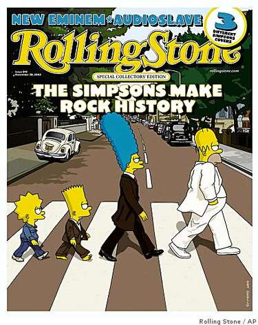 2002 Rolling Stone cover featuring the Simpsons in an Abbey Road knockoff Photo: Rolling Stone, AP