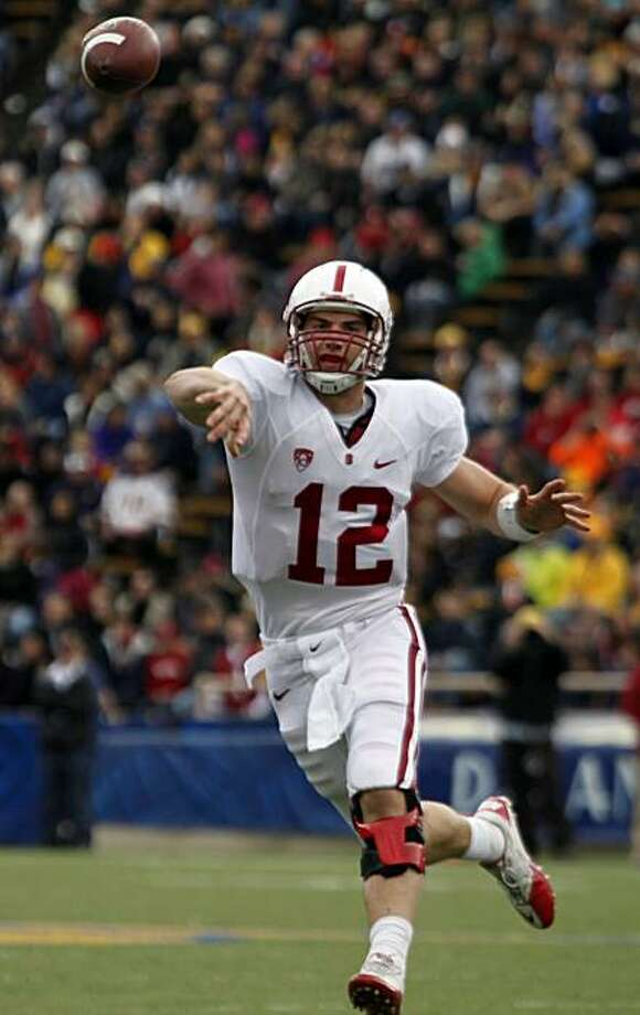 Stanford QB Andrew Luck completes a pass in the first half of the Big Game at Memorial Stadium in Berkeley on Saturday. Photo: Lance Iversen, The Chronicle