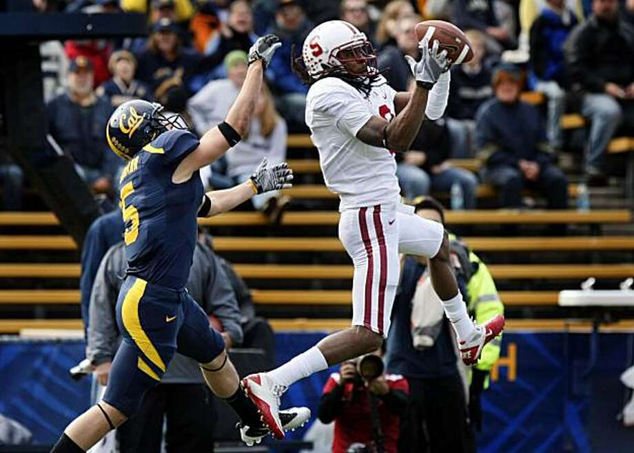 Stanford's Richard Sherman steps in front of Cal's Alex Lagemann for an interception in the first quarter of the Big Game at Memorial Stadium in Berkeley on Saturday. Photo: Lance Iversen, The Chronicle