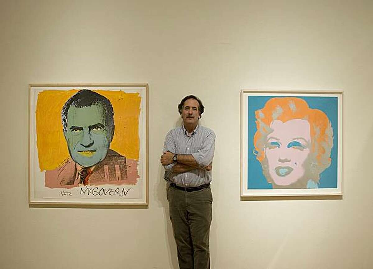 Michael schwager_with work by Andy Warhol a sculpture by Robert _arneson: