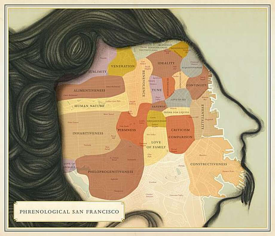 "Phrenological San Francisco map from the book ""Infinite City: A San Francisco Atlas"" by Rebecca Solnit Photo: University Of California Press"